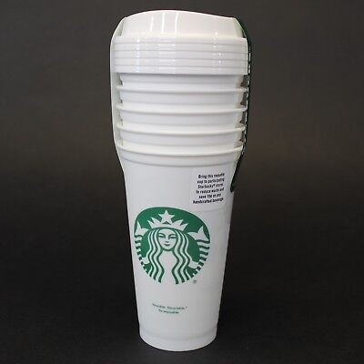 Starbucks Reusable White Cup Collection Tumbler 16 Oz Pack of 5 New