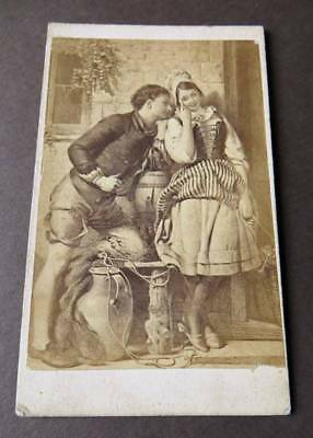 "CDV of Painting ""The Old, Old Story"" by artist Frank Stone"