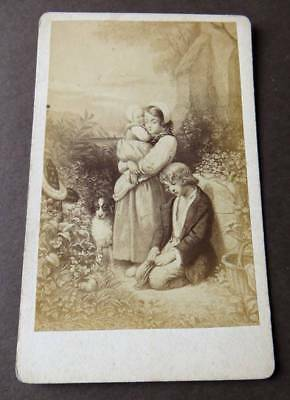"CDV of Painting ""The Orphan's Prayer"" by artist Marie Alexandre Alophe France"