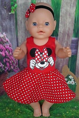 """Dolls clothes for 17"""" Baby Born doll~MINNIE MOUSE RED/SPOT CIRCLE DRESS~HAIR BOW"""
