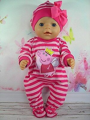 """Dolls clothes for 17"""" Baby Born doll~ PEPPA PIG FAIRY~PINK STRIPE JUMPSUIT & HAT"""