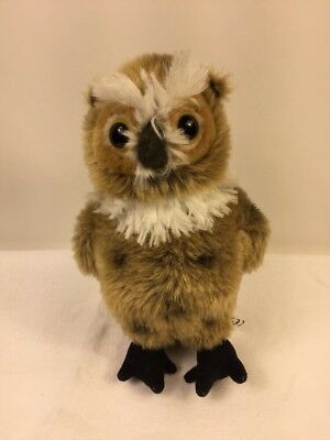 New Great Horned Owl Plush Toy Small Brown Bird Stuffed Wildlife