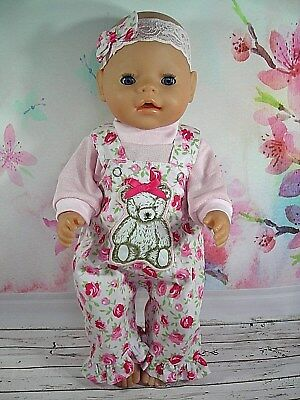 """Dolls clothes  for 17"""" Baby Born  doll~TEDDY BEAR ROSE OVERALLS~TOP~HAIR BOW"""