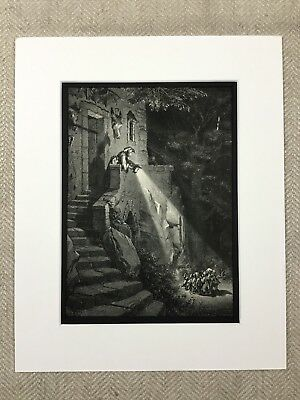 The Fairy Realm Enchanted Forest Elves Gustave Dore Genuine Antique Print