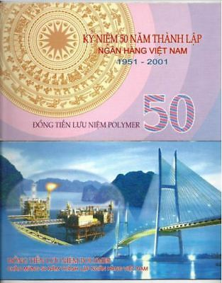 Vietnam 50 Dong Polymer 2001 Commemorative With Folder (UNC) : NH 0068354