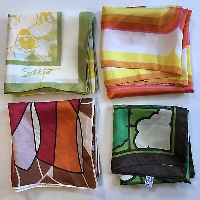 4 Scarves Square Vtg Rain Scarf Water Repellent Abstract Geometric Bright Lot