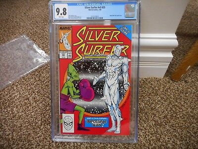 Silver Surfer 33 cgc 9.8 Marvel 1990 Impossible Man MINT WHITE pgs movie Thanos
