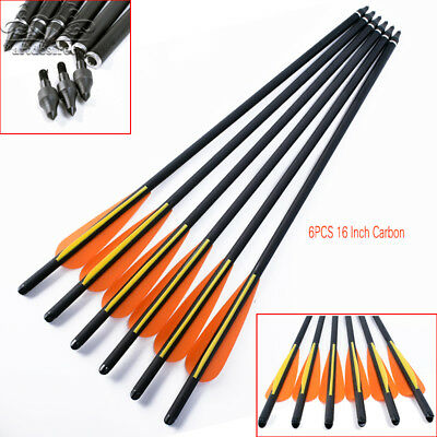 "6PK Carbon Arrows 16"" Crossbow Bolts 4inch vanes Hunting Archery arrow heads"