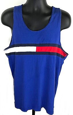 Vintage Tommy Hilfiger Men's XL Red White Flag Tank Top Shirt