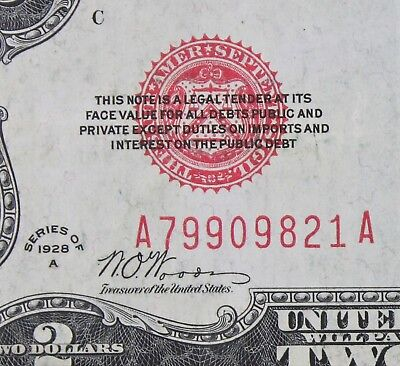 $2 1928A large red seal US Note A79909821A two dollar, KEY series A, FREE SHIP.
