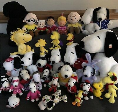 Huge Peanuts Snoopy Plush Lot! Peanuts Snoopy, Charlie Brown, Woodstock Dolls