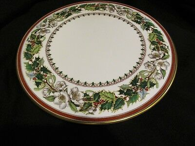 """SPODE Bone China CHRISTMAS ROSE Flat Cake~Cookie~Cheese Plate 11"""" Excellent!"""