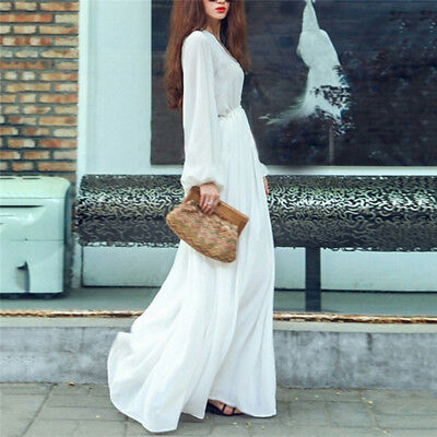 Women Spring V-neck Long Sleeve Chiffon Casual Bohemian Elegant Maxi Dress B
