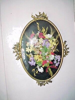 Vtg OVAL Ornate gilt metal decorated Picture Frame flowers under CONVEX Glass
