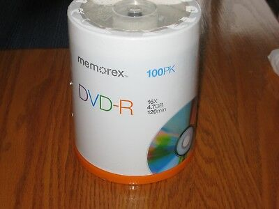 Memorex 4.7 GB DVD-R 16X 120min 100 Pack Sealed Discs NIB