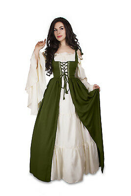 Renaissance Medieval Irish Costume Olive Over Dress ONLY Fitted Bodice S/M