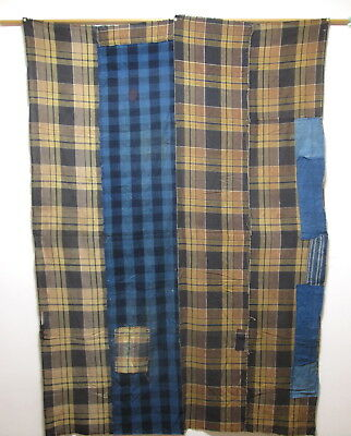 JAPANESE COTTON ANTIQUE BORO PATCHWORK FABRIC / 182 x 127cm / FINE INDIGO BLUE