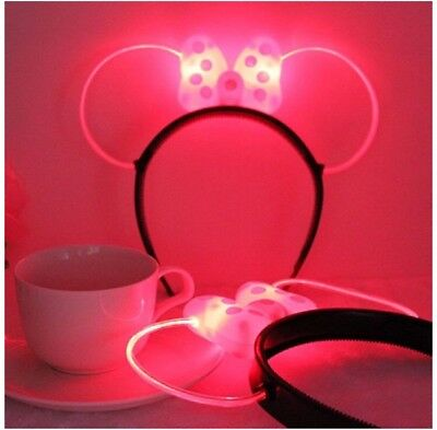 NEW! Lightup Minnie Mouse Glow Ears Headband for Disney Parks- Pink