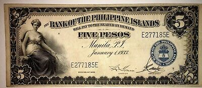 💥1933 $5 Pesos Bank Of The Philippines AU-BLUE SEAL (AWESOME BANKNOTE✨