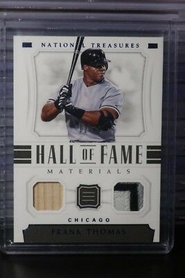 2018 National Treasures Frank Thomas Game Used Bat Patch HOF Materials #02/10 TL