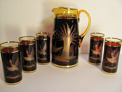 Brown Cut to Clear on Amber Glass Pitcher, +5 Glasses Geese Beverage Set Barware