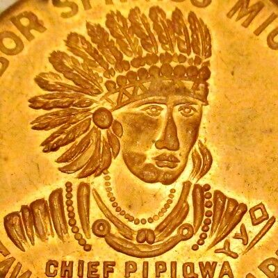 1950 Harbor Springs Mi. Odawa Indian Chief Pipiqwa Good-For 25 Cents Medal Token