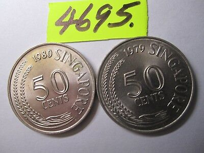 2 x fifty cent coins  Singapore    20     gms      Mar4695