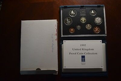 1992 Great Britain 9 Coin Deluxe Proof Set RED CASE BOX & COA