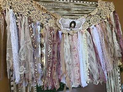 Pink Rose Fabric Garland Ribbon Nursery photoprop backdrop Curtain Light