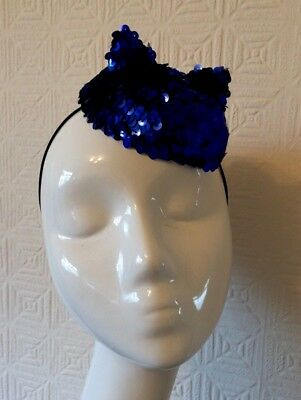 Handmade Blue Sequin Button Fascinator/mini Hat With Cat Ears - Christmas/party