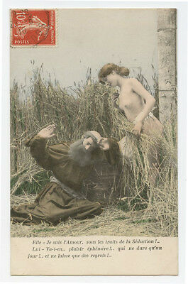 c 1910 French Risque NUDE BEAUTY w/ catholic Monk naked photo postcard