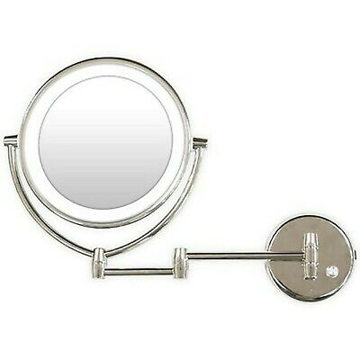 Wall Mounted L.E.D. Lighted Makeup Mirror, 7X| 1X Magnification Chrome Finish
