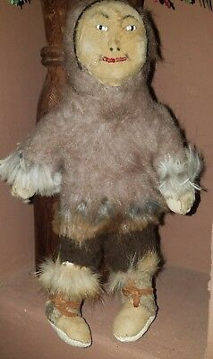 Vintage Fur Beaded Features Inuit Doll Native American Indian