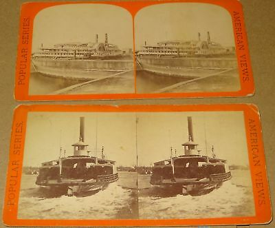 2 New York Stereoviews Sound Steamer Bristol & Ferry Boat East River Anthony