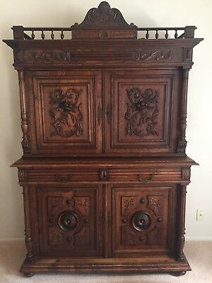 French Antique Gothic Wood Dining Room Cabinet Sideboard Buffet Console Tall vtg