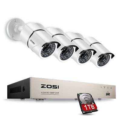 8Ch FULL 1080P x4 In/Outdoor 2MP Security Cameras (White) + 1TB HDD