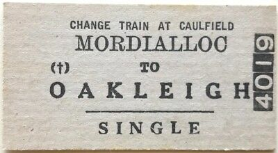 VR Ticket - MORDIALLOC to OAKLEIGH (Change Train at Caulfield) - Single