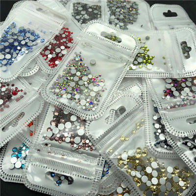 1728 Pcs Mix Size Glass Crystal Nail Art Rhinestones Flatback DIY Beads Manicure