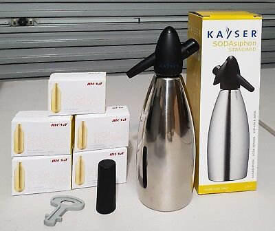 Kayser 1LT Stainless Steel Soda Syphon with 50 chargers / bulbs included