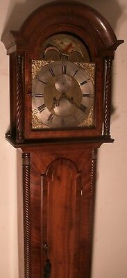 "Antique  "" Newcastle ""  Brass Moon Phase  Dial Longcase / Grandfather Clock"