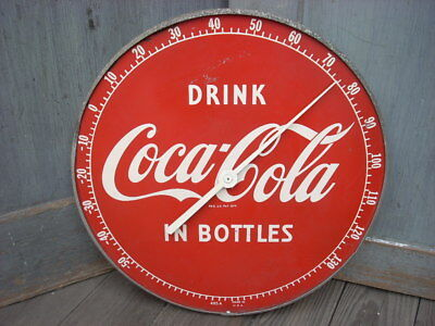 Vintage 1950s Drink COCA COLA In Bottles Thermometer Soda Advertising Sign