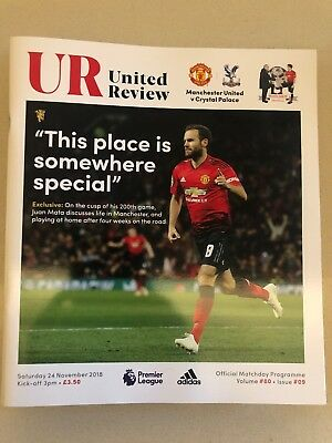 MANCHESTER UNITED V CRYSTAL PALACE Official Match Day Programme