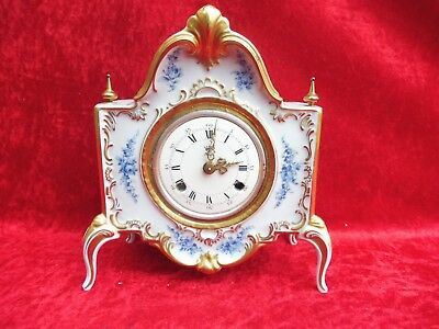 Beautiful Fireplace Clock __Porcelain__ with Stroke__Dresden__ Fhs __ Table