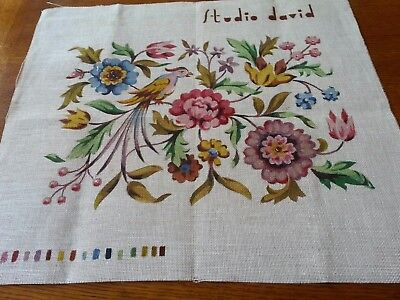 Large painted  floral needlepoint canvas suitable for stool top etc