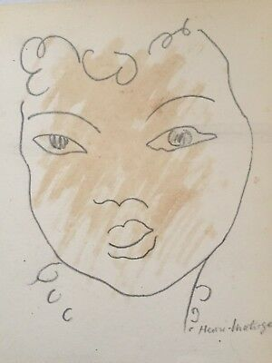 Henri Matisse - lovely pencil and wash portrait drawing, not a print