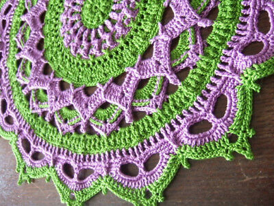 "Chunky Doily/Mat ""Francisco"" Suffregette Colours - Handmade Crochet - Brand New"
