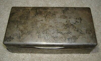 VTG 1940s STERLING SILVER ENGRAVED CIGARETTE PRESENTATION BOX USAF