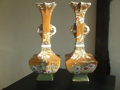 Pair Of Japanese Stoneware Vases Square Form With Prunus Throughout Both Signed