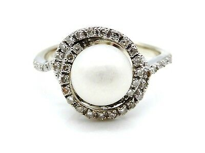 BEAUTIFUL Solid 14k White Gold / Pearl / Diamonds Ladies Ring Size 6