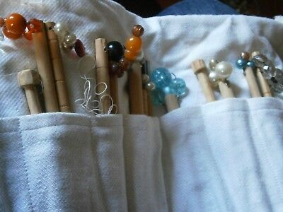 Vintage wooden lace making bobbins set some with spangles lacemaking